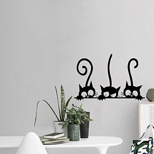 Pegatinas silueta 3 gatos asomandose pared vinilo decorativo ...