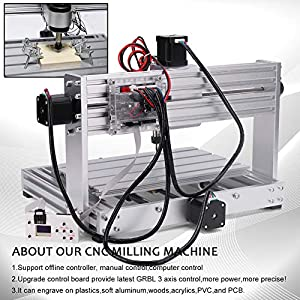Upgrade CNC 3018 Max Engraver DIY CNC Machine GRBL Control,3 Axis Milling Engraving Machine,Industrial Grade All Aluminum Frame Wood Router XYZ Working Area 300x180x45mm (with extension rod) cenoz