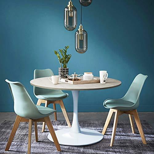 Gran mesa redonda para comedor o cocina, 100 x 100 x 75 cm (roble, blanco)