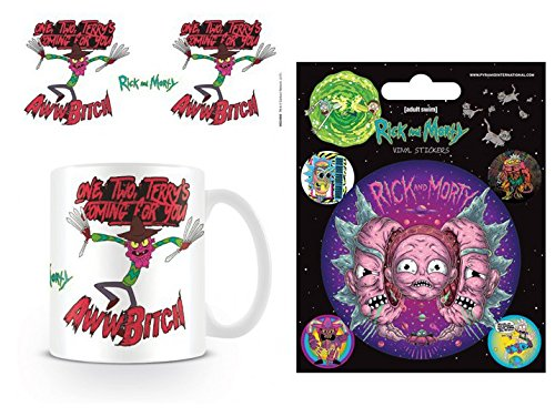 Set: Rick and Morty, Scary Terry, One, Two, Terry's Coming for You Photo Coffee Mug (4x3 inches) and 1 Rick and Morty, Sticker Adhesive Decal (5x4 inches) (Rick And Morty Nightmare On Elm Street)