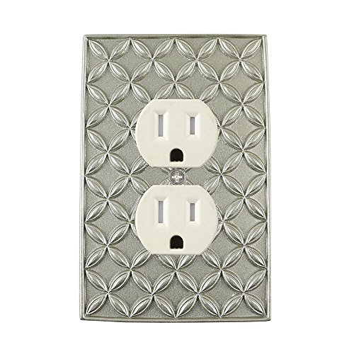 Pewter Duplex Outlet (Meriville Colfax Electrical Outlet Wall Plate Cover, Hand Painted Single Duplex receptacle outlet cover, Pewter)
