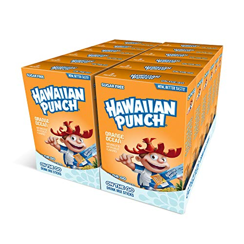 Hawaiian Punch, Orange Ocean- Powder Drink Mix - (12 boxes, 96 sticks) - Sugar Free & Delicious, Excellent source of Vitamin C, Makes 96 flavored water beverages