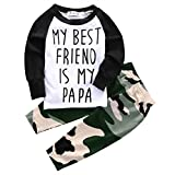 Baby Boys MY BEST FRIEND IS MY PAPA Long Sleeve Raglan T-shirt and Camo Pants Outfit (12-18M/Tag 80, White)
