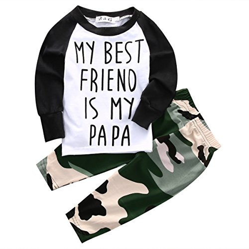 Baby Boys MY BEST FRIEND IS MY PAPA Long Sleeve Raglan T-shirt and Camo Pants Outfit (12-18M/Tag 80, White) (Friends Baby Clothes)