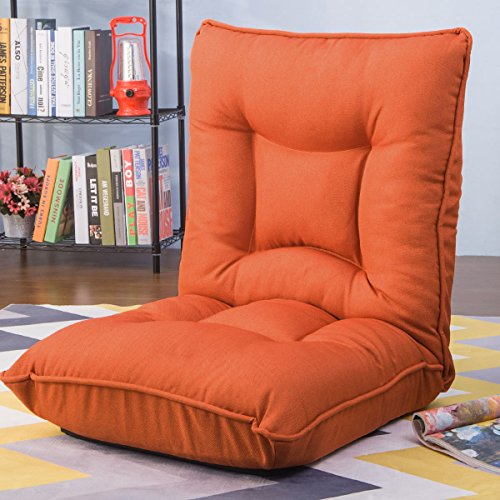 Harper&Bright Designs Adjustable 5-Position Folding Floor Gaming Chair Sofa Lounger Bed (Orange),