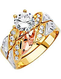 Ladies 14K 3 Tri Color White Yellow and Rose/Pink Gold CZ Cubic Zirconia Engagement Ring + Wedding Band Bridal Set (Multiple Sizes Available)
