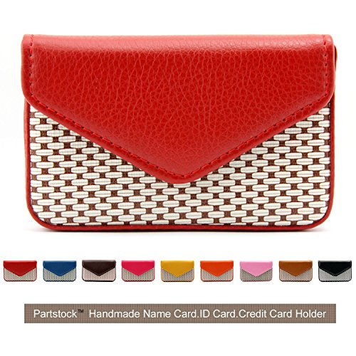 se PU Leather Business Name Card Holder Wallet Leather Credit card ID Case / Holder / Cards Case with Magnetic Shut.Perfect Gift - Red ()