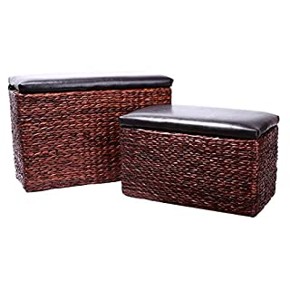 Eshow Ottoman Rattan Ottoman with Storage Hassocks and Ottomans Foot Rest Pouf Ottoman Foot Stools Cube Decoration Furniture Leather Ottoman Seating Storage Bench Ottoman with Tray 2-Piece,Brown