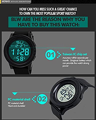 ... 5 ATM Waterproof Outdoor LED Digital Watch Military Rubber Wrist Watch Strap with Clasp Analog Quartz Watch with Date Month Relojes De Hombre: Watches