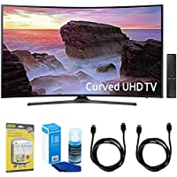 Samsung Curved 55 4K Ultra HD Smart LED TV (2017 Model) - UN55MU6500 w/ Accessories Bundle Includes, SurgePro 6-Outlet Surge Adapter w/ Night Light, 2x 6ft. HDMI Cable & Screen Cleaner For LED TVs