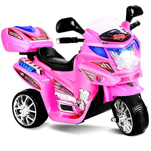 - Costzon Ride On Motorcycle, 6V Battery Powered 3 Wheels Electric Bicycle, Ride On Vehicle with Music, Horn, Headlights for Kids (Pink)