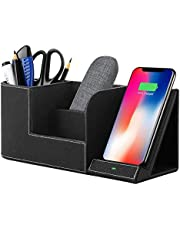 Wireless Charger Station with Desktop Organizer,10W Induction Charger for iPhone XS MAX/XR/X/8 plus and Samsung Galaxy S10/S9/S9+/S8/S8 Plus/Note9 and more, Desktop Storage Caddy Pen Pad Holder