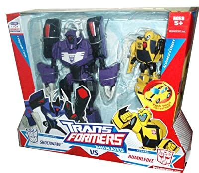 """Transformers Animated Series Exclusive 2 Pack Robot Action Figure - Voyager Class Decepticon SHOCKWAVE (8"""" Tall) with 4 Transform Modes and Activators Class Autobot BUMBLEBEE (4"""" Tall) with Push Button Conversion"""