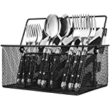 Premium Utensil Holder for Cutlery, Condiments & Disposables – 4 Compartments – Elegant Flatware Caddy Organizer – Practical Table Silverware holder - By Ideal Traditions (Black)