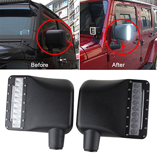 MINGLI Side View Mirror Kit Rear View Mirror Housing with Turn Signal Light for JEEP JK JKU 2007-2016