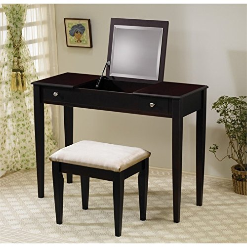 Coaster 300080 Flip-Top Vanity Set, (Makeup Table And Chair)