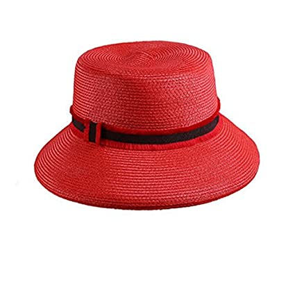Amazon.com  ALWLj Summer Sun Hat Wide Brim Straw Hats Red Blue Flat ... c596a150a97