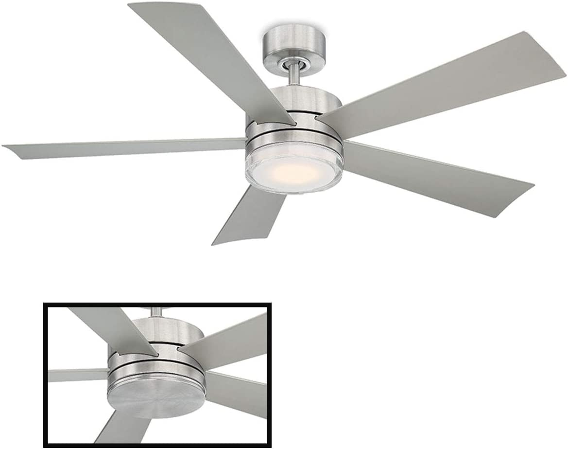 Wynd Indoor/Outdoor 5-Blade Smart Ceiling Fan 52in Stainless Steel with 3500K LED Light Kit and Wall Control works with iOS/Android, Alexa, Google Assistant, Samsung SmartThings, and Ecobee