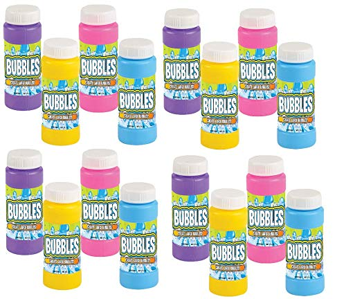 Neliblu Bulk Party Bubbles - 12 Pack 2 Oz Bubble Bottles with Wands - Summer Fun Toys, Party Favors, Goody Bag Stuffers Assorted -