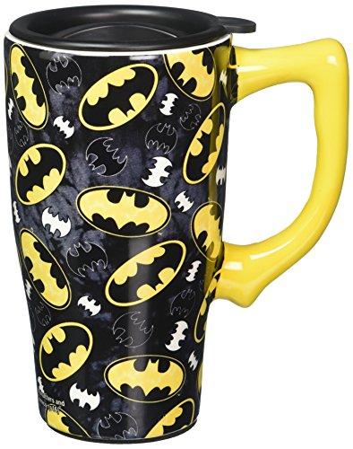 Spoontiques 12752 Batman Logos Travel Mug, Black
