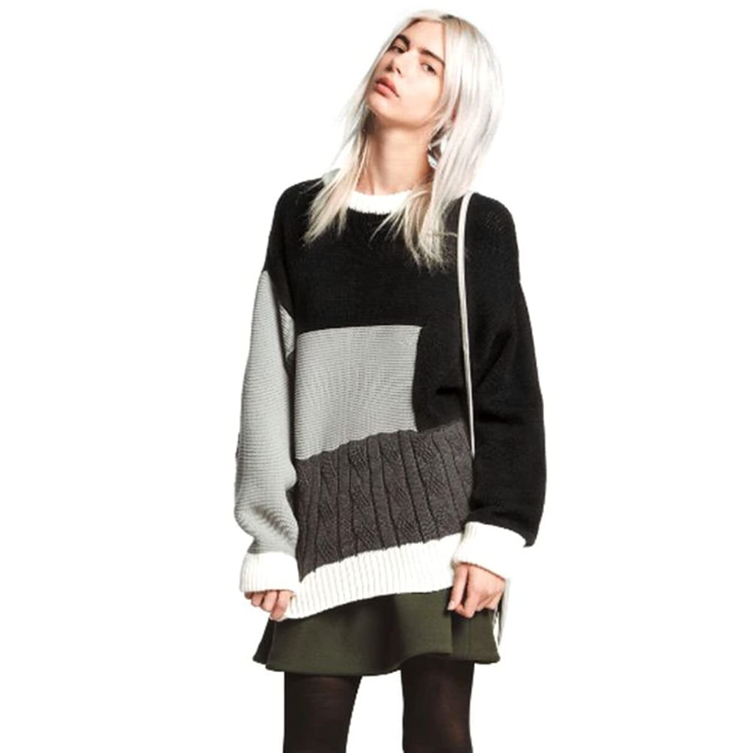 Timall Fashion Women O-NECK Long Sleeve Jumper Geometric Pullover Sweater