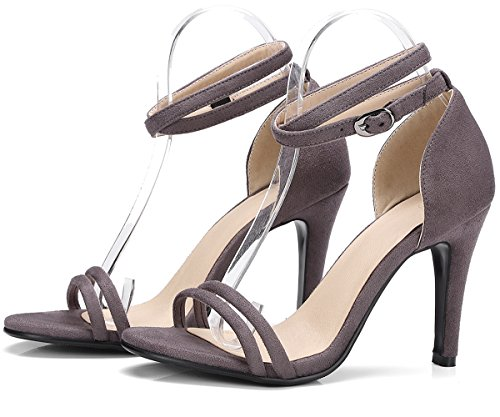 Adjustable Stiletto Women Dress Toe Ankle Sandals Buckle BIGTREE Wedding Grey Strap Sandals Peep OqfxYw
