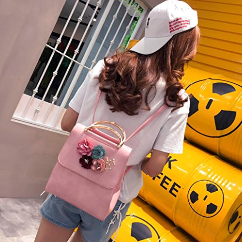 Backpacks Black Women Floral Lnclined Shoulder Fashion Shoulder Decal Backpack Bag Bags Bag Pink SOMESUN Fashion Leather 5wxx6qYg1X