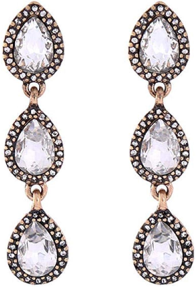 Pendientes Para Mujer Pendientes Antiguos De Aleación De Piedras Preciosas De Aleación De Diamantes Con Personalidad De Dama Salvaje