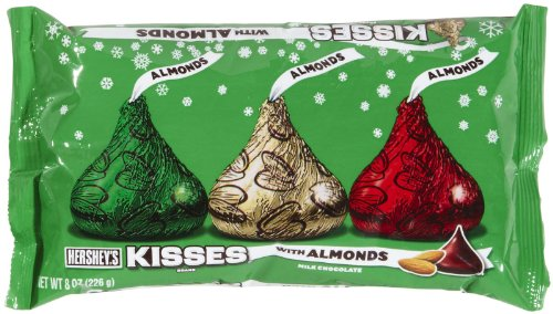 Holiday Hershey's Kisses Milk Chocolate with Almonds, 8-Ounce Bag