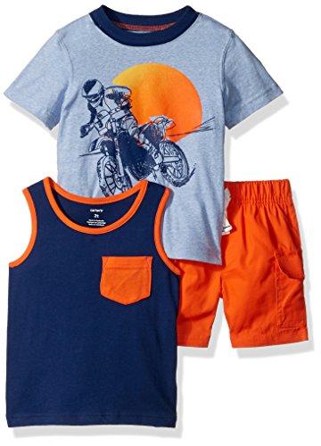 Carter's Boys' Toddler 3-Piece Playwear Set, Orange/Blue, 3T