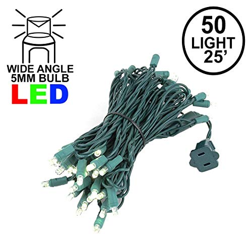 (Novelty Lights 50 Light LED Christmas Mini Light Set, Outdoor Lighting Party Patio String Lights, Warm White, Green Wire, 25 Feet)