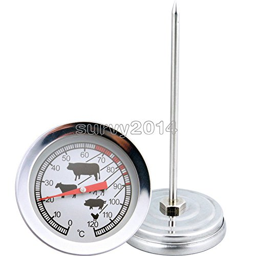 exironホット料理インスタント読み取りステンレススチールプローブ温度計バーベキュー食品肉ゲージ B07FM6K131