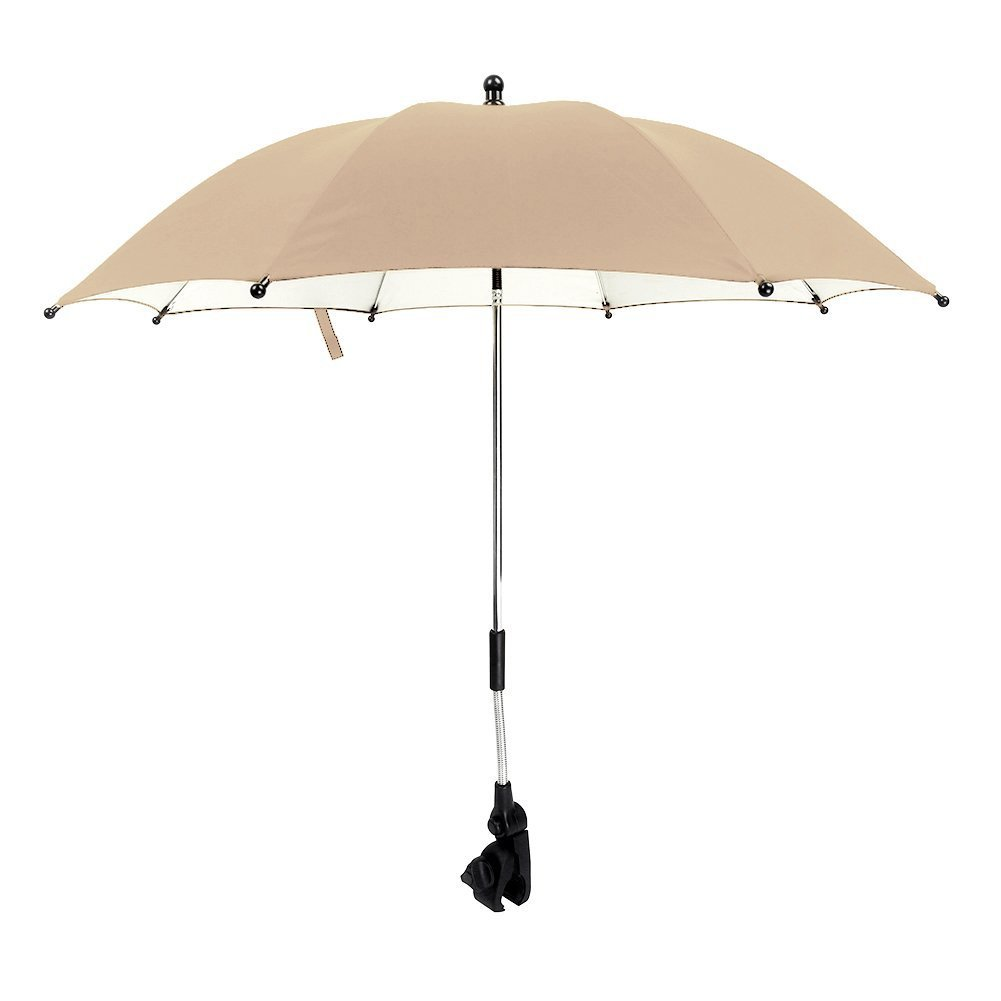 IntiPal Stroller Buggy Pram Parasol Umbrella - Fits Most Prams and Buggies - Protects Babies and Infants from UV Rays (Khaki)