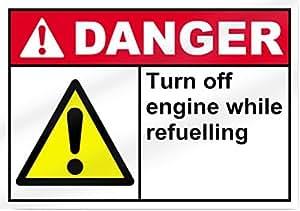Apagar Motor mientras reabastecimiento peligro señal de 14cm de ancho x 10cm de alto