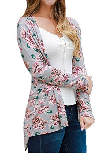 Casual Stampa Elegante Gray Outwear Manica Floreale Lunga Donna Cappotto Moda Soprabito Giacca Kerlana Hfwq7zcWpz