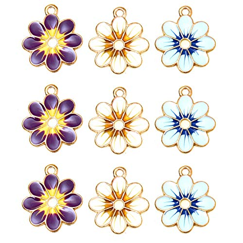 Monrocco 18Pcs Enamel Sunflower Charm Flower Charm Pendants for Jewelry Making Bracelet Necklace (Blue, Yellow, Purple)