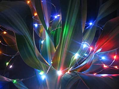 LED SopoTek Solar Powered Led String Lights 120 leds RGB Copper wire lights 20ft Waterproof LED Starry Light For Christmas Wedding and Party Up to 12 hours runtime (20ft Multi-color)