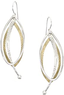 product image for Marjorie Baer Layered Oval and Pendulum Earring in Brass and Silver