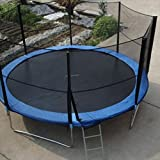 10-Feet Round Trampoline with High Safety Enclosure, UV Proof Coating Trampoline, Basketball Hoop, Outer Springs, Ladder & Reinforced Safety Pad, Kids Adults Outdoor Backyard