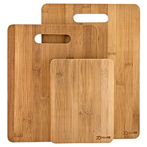 Zenware 3 Piece Triple-Ply Warp Resistant All Natural Bamboo Cutting Board Set - Small