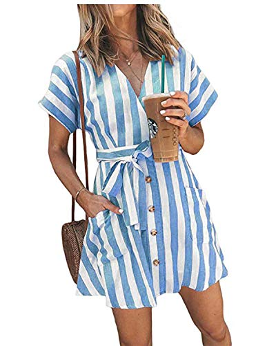 - OEUVRE Women V Neck Short Sleeve Wrap Tie Waist Button Front Shirt Dress Striped Dress with Pocket (Small, BLUE3)