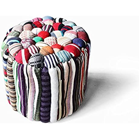 Handmade Fabrics Round Low Stool Cloth Filling Footstool For Change Shoes Stool Lazy Person Sofa Stool C 40x40cm 16x16inch