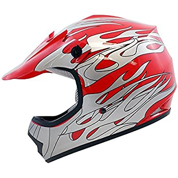 TMS Youth Kids Red Flame ATV Motocross Dirt Bike Off-Road MX Gear Helmet DOT