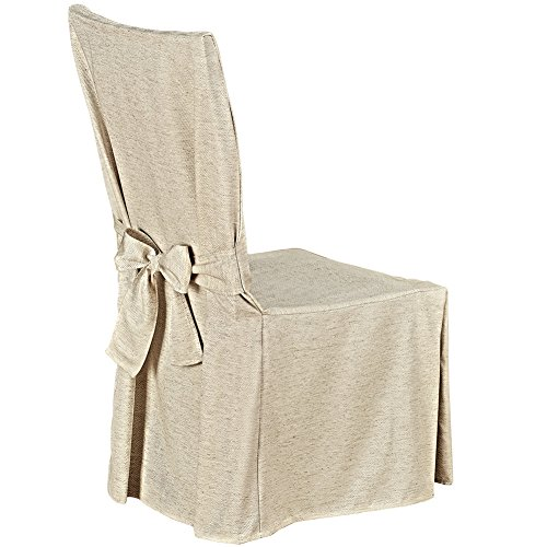 Collections Etc Garden Retreat Dining Chair Cover, Beautiful Furniture Protector with Decorative Bow Tie Back, Natural from Collections Etc
