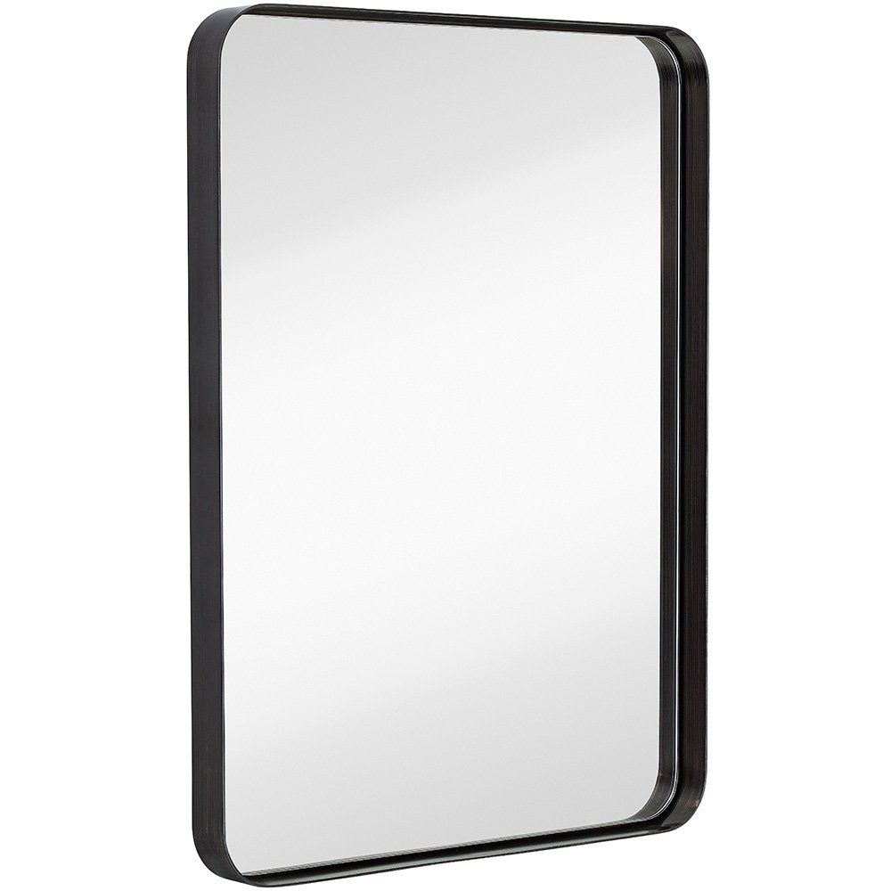 "Hamilton Hills Contemporary Brushed Metal Wall Mirror | Glass Panel Black Framed Rounded Corner Deep Set Design | Mirrored Rectangle Hangs Horizontal or Vertical (22"" x 30"")"