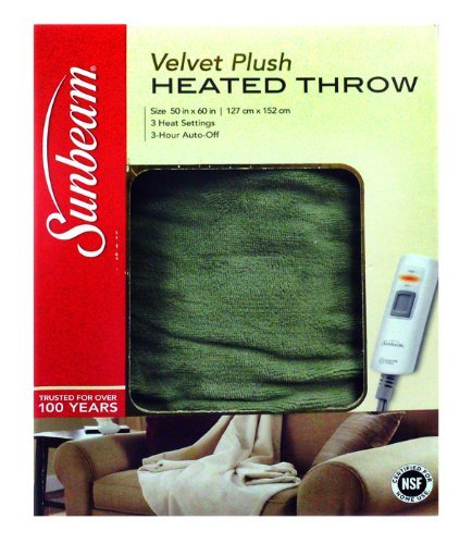 - Sunbeam Microplush Throw Electric Heated Warming Blanket, Ivy Green