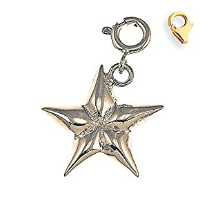 """Gold-Plated 925 Silver 21mm Star 7.25"""" Charm Bracelet"""