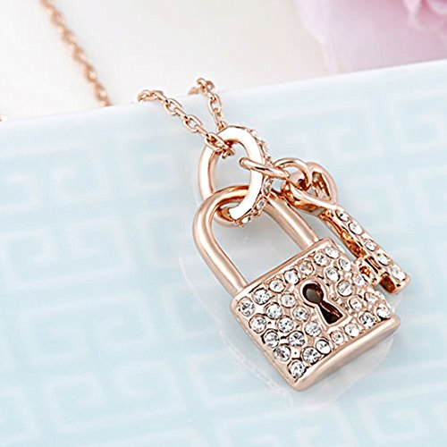 Women Lock & Key Gold Plated Necklace Rose Gold Chain Necklace