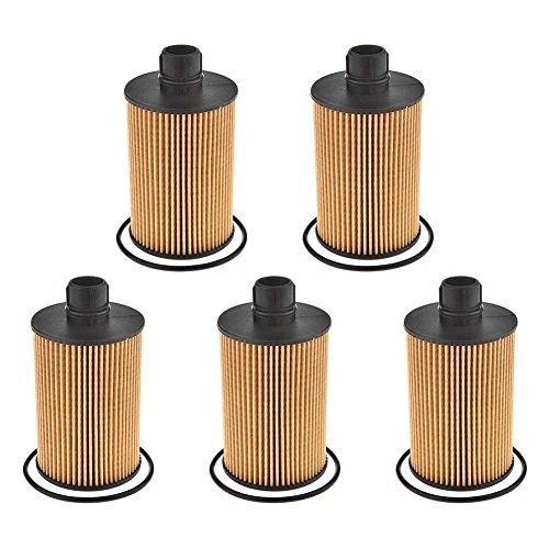 Catinbow 68229402AA Metal-Free Oil Filter for 11-18 Jeep Grand Cherokee 14-18 Ram 1500 3.0L Diesel - 5 PCS