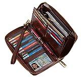SimpacX Chelmon Womens RFID Blocking Wallet Genuine Leather Zip Around Clutch Large Travel Wallet Purse Passport Holder (wax coffee)